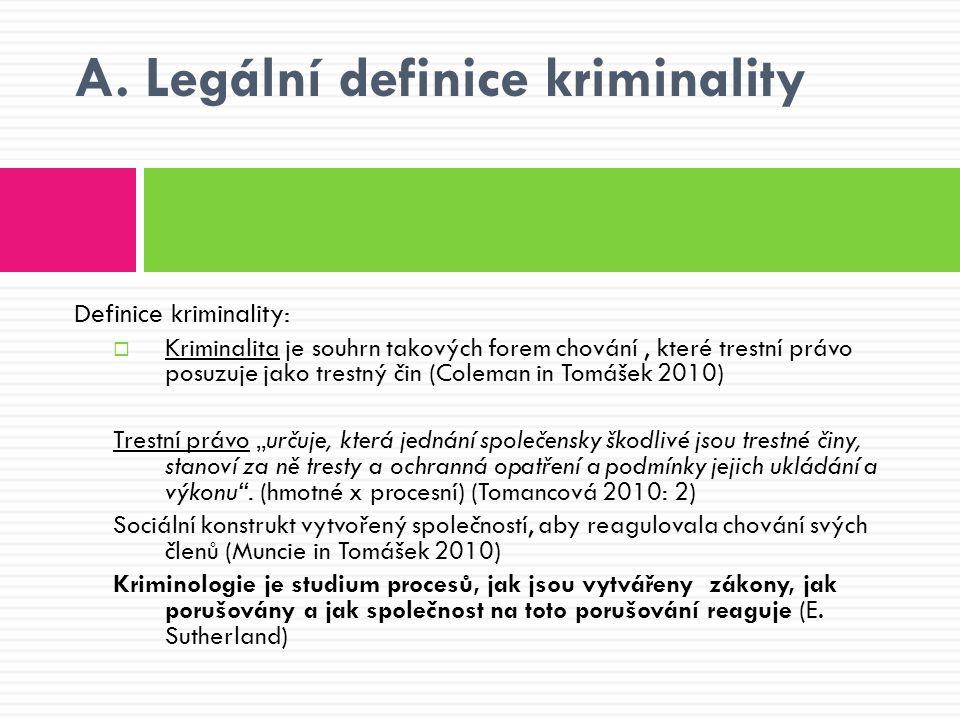 A. Legální definice kriminality Definice kriminality:  Kriminalita je souhrn takových forem chování, které trestní právo posuzuje jako trestný čin (C