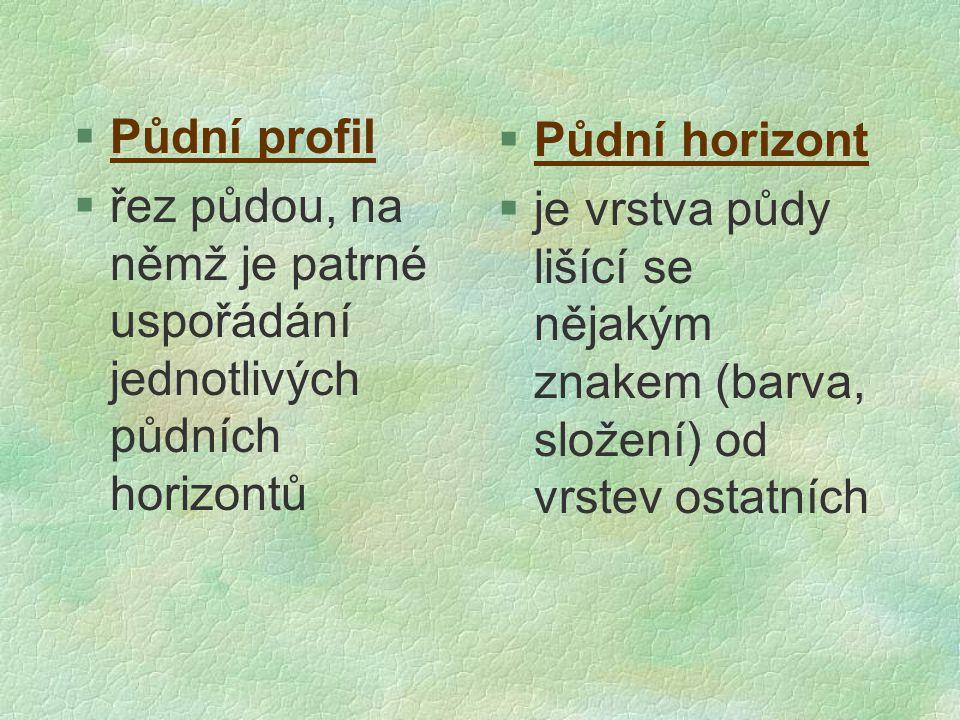§Půdní profil §řez půdou, na němž je patrné uspořádání jednotlivých půdních horizontů §Půdní horizont  je vrstva půdy lišící se nějakým znakem (barva