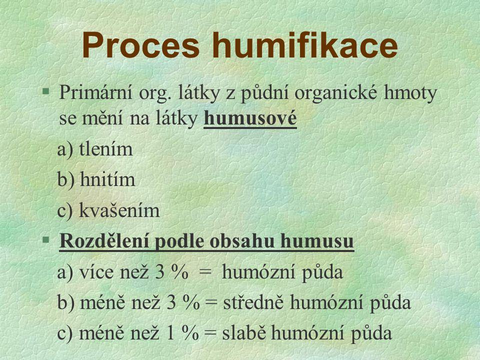 Proces humifikace §Primární org. látky z půdní organické hmoty se mění na látky humusové a) tlením b) hnitím c) kvašením §Rozdělení podle obsahu humus