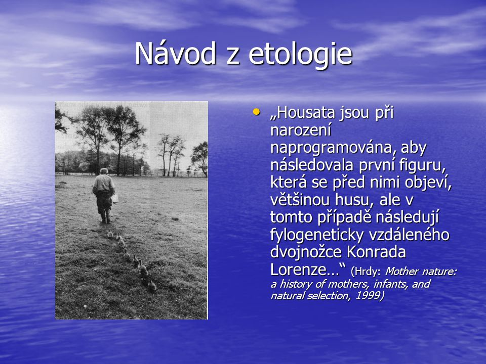 """Návod z etologie """"Housata jsou při narození naprogramována, aby následovala první figuru, která se před nimi objeví, většinou husu, ale v tomto případě následují fylogeneticky vzdáleného dvojnožce Konrada Lorenze… (Hrdy: Mother nature: a history of mothers, infants, and natural selection, 1999) """"Housata jsou při narození naprogramována, aby následovala první figuru, která se před nimi objeví, většinou husu, ale v tomto případě následují fylogeneticky vzdáleného dvojnožce Konrada Lorenze… (Hrdy: Mother nature: a history of mothers, infants, and natural selection, 1999)"""