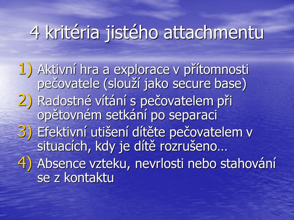 4 kritéria jistého attachmentu 1) Aktivní hra a explorace v přítomnosti pečovatele (slouží jako secure base) 2) Radostné vítání s pečovatelem při opětovném setkání po separaci 3) Efektivní utišení dítěte pečovatelem v situacích, kdy je dítě rozrušeno… 4) Absence vzteku, nevrlosti nebo stahování se z kontaktu