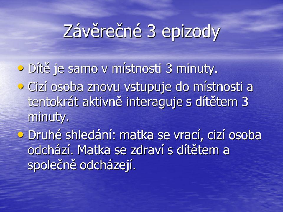 Závěrečné 3 epizody Dítě je samo v místnosti 3 minuty.