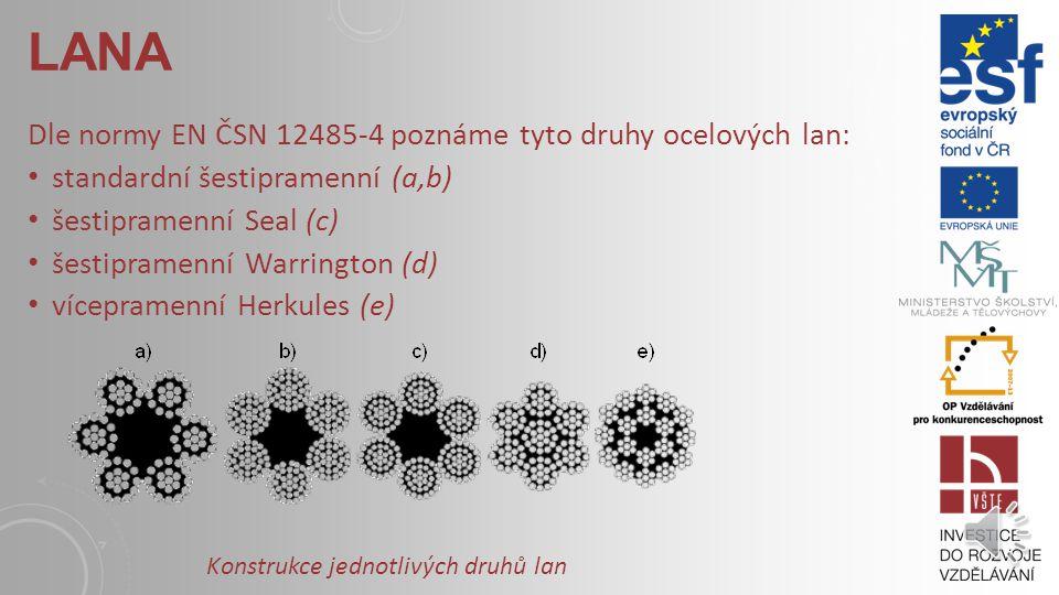 Dle normy EN ČSN 12485-4 poznáme tyto druhy ocelových lan: standardní šestipramenní (a,b) šestipramenní Seal (c) šestipramenní Warrington (d) vícepramenní Herkules (e) LANA Konstrukce jednotlivých druhů lan