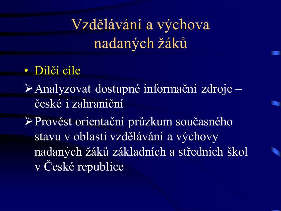 Vzdělávání a výchova nadaných žáků Dílčí cíle  Analyzovat dostupné informační zdroje – české i zahraniční  Provést orientační průzkum současného sta