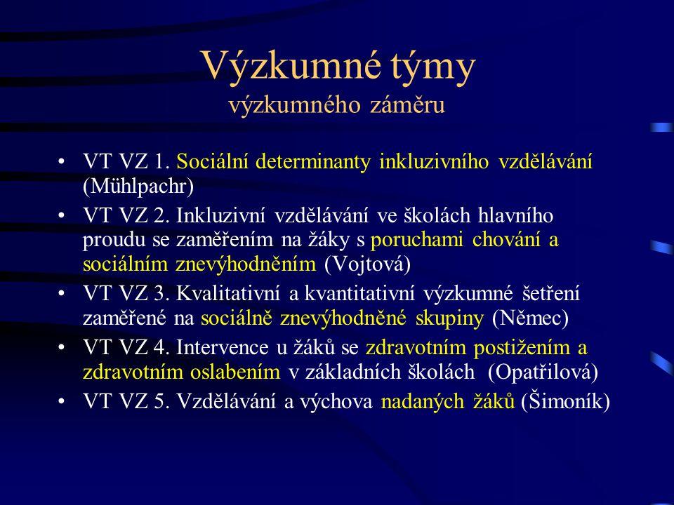 Výzkumné týmy výzkumného záměru VT VZ 1. Sociální determinanty inkluzivního vzdělávání (Mühlpachr) VT VZ 2. Inkluzivní vzdělávání ve školách hlavního