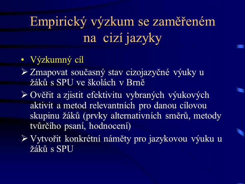 Empirický výzkum se zaměřeném na cizí jazyky Výzkumný cíl  Zmapovat současný stav cizojazyčné výuky u žáků s SPU ve školách v Brně  Ověřit a zjistit