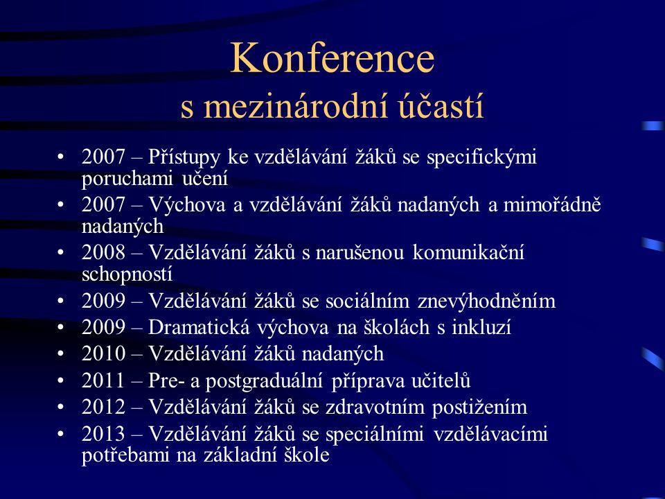 Konference s mezinárodní účastí 2007 – Přístupy ke vzdělávání žáků se specifickými poruchami učení 2007 – Výchova a vzdělávání žáků nadaných a mimořádně nadaných 2008 – Vzdělávání žáků s narušenou komunikační schopností 2009 – Vzdělávání žáků se sociálním znevýhodněním 2009 – Dramatická výchova na školách s inkluzí 2010 – Vzdělávání žáků nadaných 2011 – Pre- a postgraduální příprava učitelů 2012 – Vzdělávání žáků se zdravotním postižením 2013 – Vzdělávání žáků se speciálními vzdělávacími potřebami na základní škole