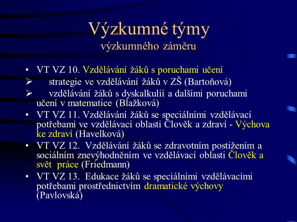 Výzkumné týmy výzkumného záměru VT VZ 10.