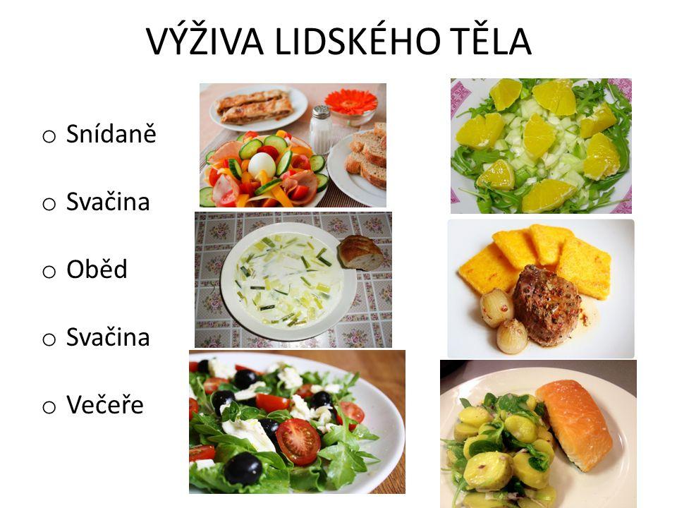 VÝŽIVA LIDSKÉHO TĚLA o Snídaně o Svačina o Oběd o Svačina o Večeře