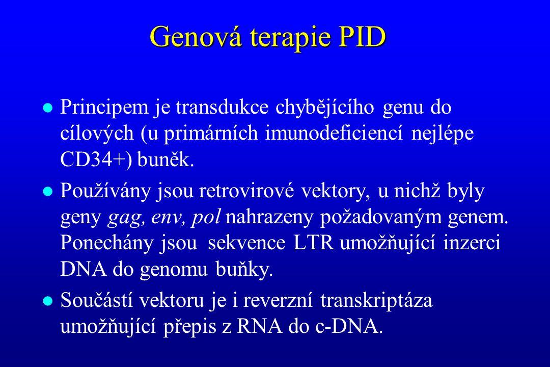 Genová terapie PID l Principem je transdukce chybějícího genu do cílových (u primárních imunodeficiencí nejlépe CD34+) buněk. l Používány jsou retrovi