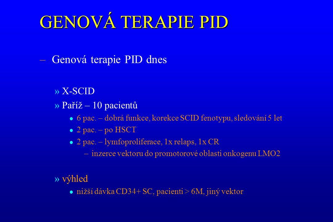 GENOVÁ TERAPIE PID – Genová terapie PID dnes »X-SCID »Paříž – 10 pacientů l 6 pac. – dobrá funkce, korekce SCID fenotypu, sledování 5 let l 2 pac. – p