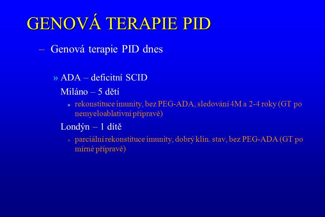 GENOVÁ TERAPIE PID – Genová terapie PID dnes »ADA – deficitní SCID Miláno – 5 dětí » rekonstituce imunity, bez PEG-ADA, sledování 4M a 2-4 roky (GT po