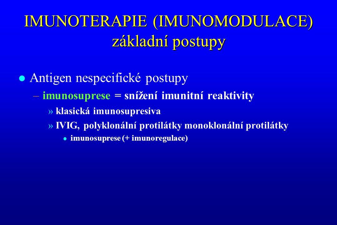 IMUNOTERAPIE (IMUNOMODULACE) základní postupy l Antigen nespecifické postupy –imunosuprese = snížení imunitní reaktivity »klasická imunosupresiva »IVI