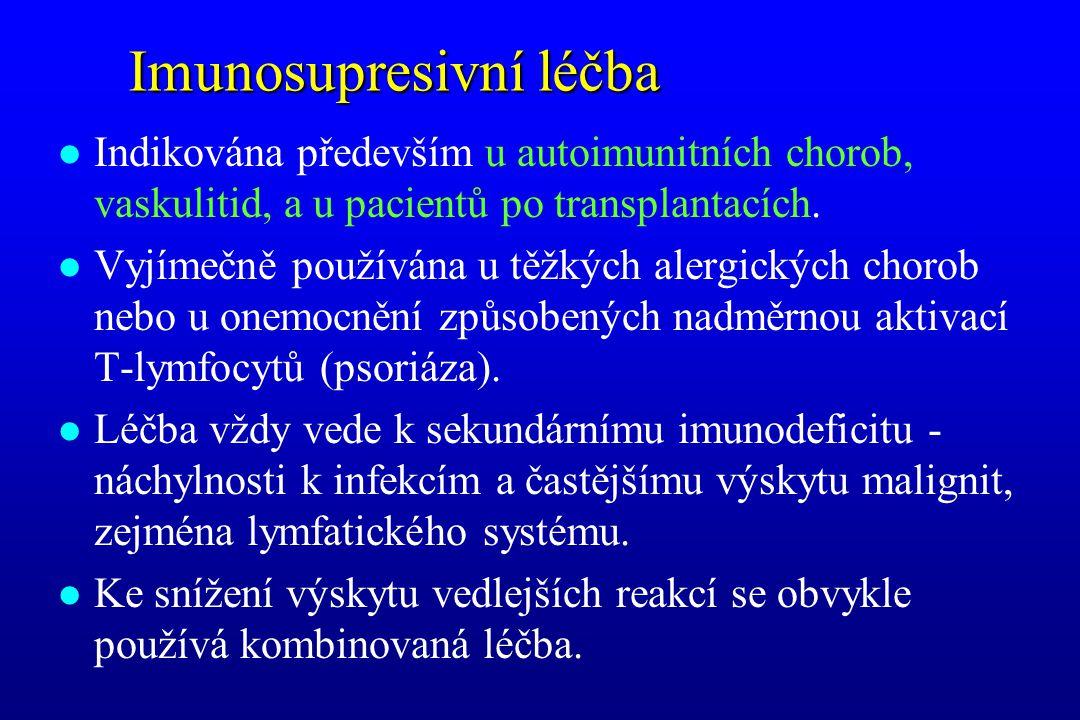 Imunosupresivní léčba l Indikována především u autoimunitních chorob, vaskulitid, a u pacientů po transplantacích. l Vyjímečně používána u těžkých ale