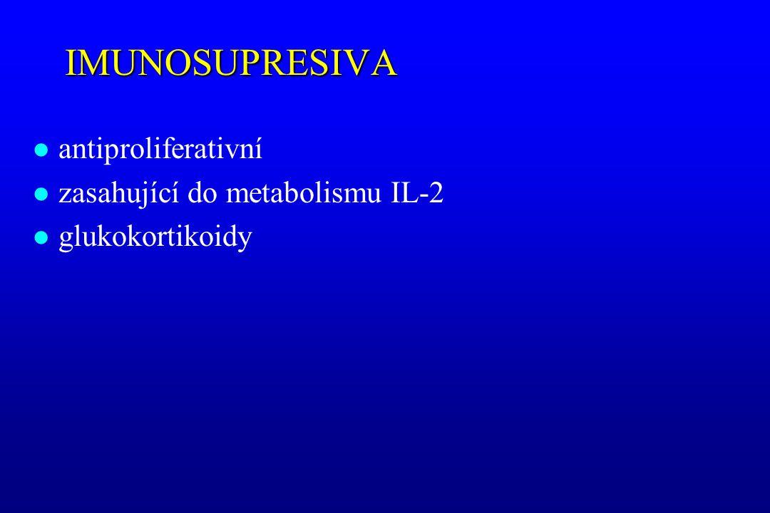 IMUNOSUPRESIVA l antiproliferativní l zasahující do metabolismu IL-2 l glukokortikoidy