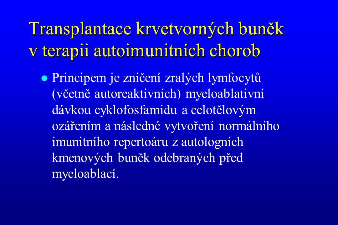 Transplantace krvetvorných buněk v terapii autoimunitních chorob l Principem je zničení zralých lymfocytů (včetně autoreaktivních) myeloablativní dávk