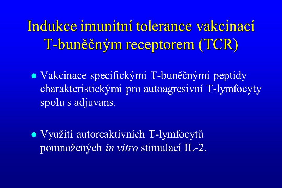 Indukce imunitní tolerance vakcinací T-buněčným receptorem (TCR) l Vakcinace specifickými T-buněčnými peptidy charakteristickými pro autoagresivní T-l