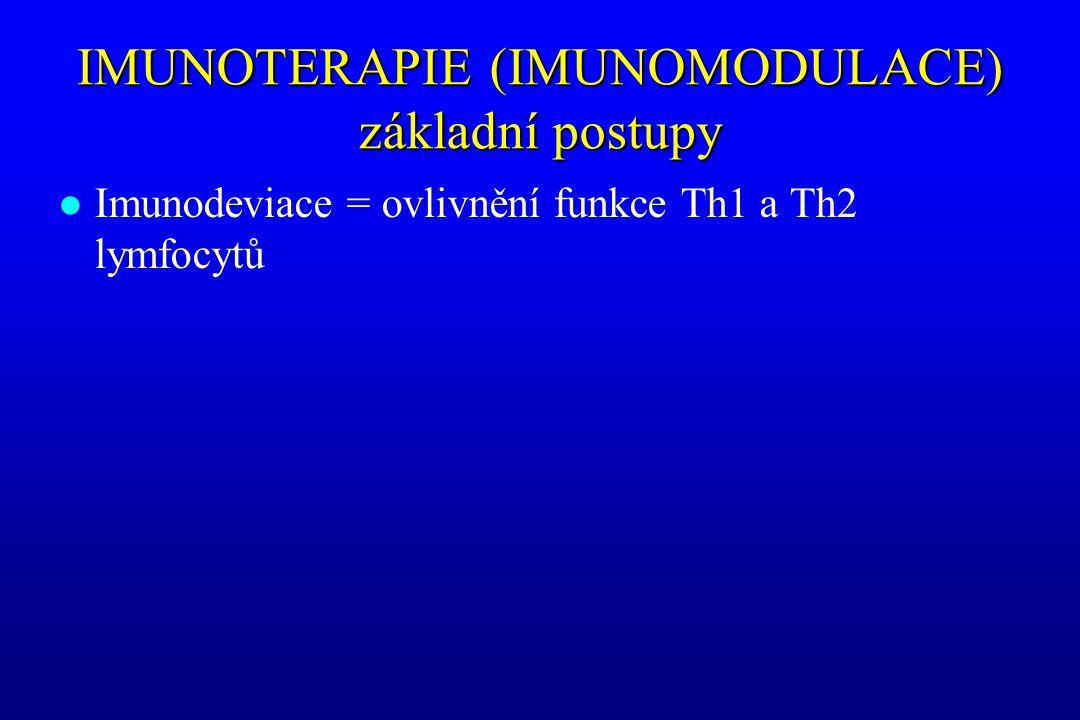 IMUNOTERAPIE (IMUNOMODULACE) základní postupy l Imunodeviace = ovlivnění funkce Th1 a Th2 lymfocytů