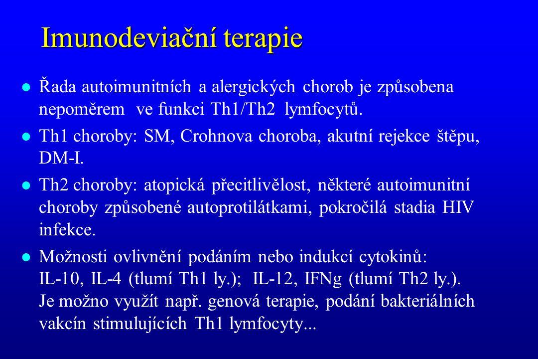 Imunodeviační terapie l Řada autoimunitních a alergických chorob je způsobena nepoměrem ve funkci Th1/Th2 lymfocytů. l Th1 choroby: SM, Crohnova choro