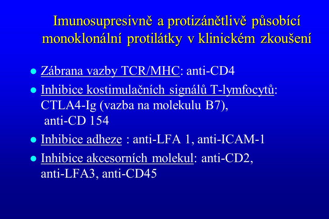 Imunosupresivně a protizánětlivě působící monoklonální protilátky v klinickém zkoušení l Zábrana vazby TCR/MHC: anti-CD4 l Inhibice kostimulačních sig