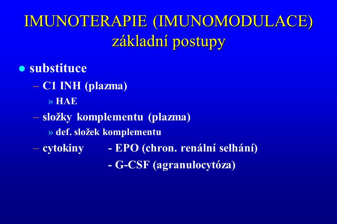 IMUNOTERAPIE (IMUNOMODULACE) základní postupy l substituce –C1 INH (plazma) »HAE –složky komplementu (plazma) »def. složek komplementu –cytokiny - EPO