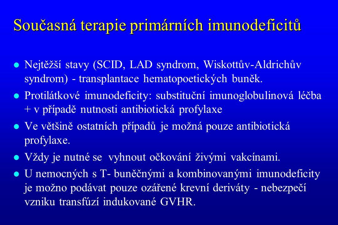 Současná terapie primárních imunodeficitů l Nejtěžší stavy (SCID, LAD syndrom, Wiskottův-Aldrichův syndrom) - transplantace hematopoetických buněk. l