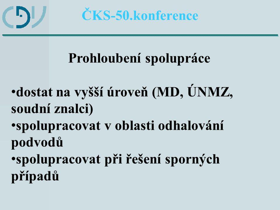 ČKS-50.konference Prohloubení spolupráce dostat na vyšší úroveň (MD, ÚNMZ, soudní znalci) spolupracovat v oblasti odhalování podvodů spolupracovat při řešení sporných případů