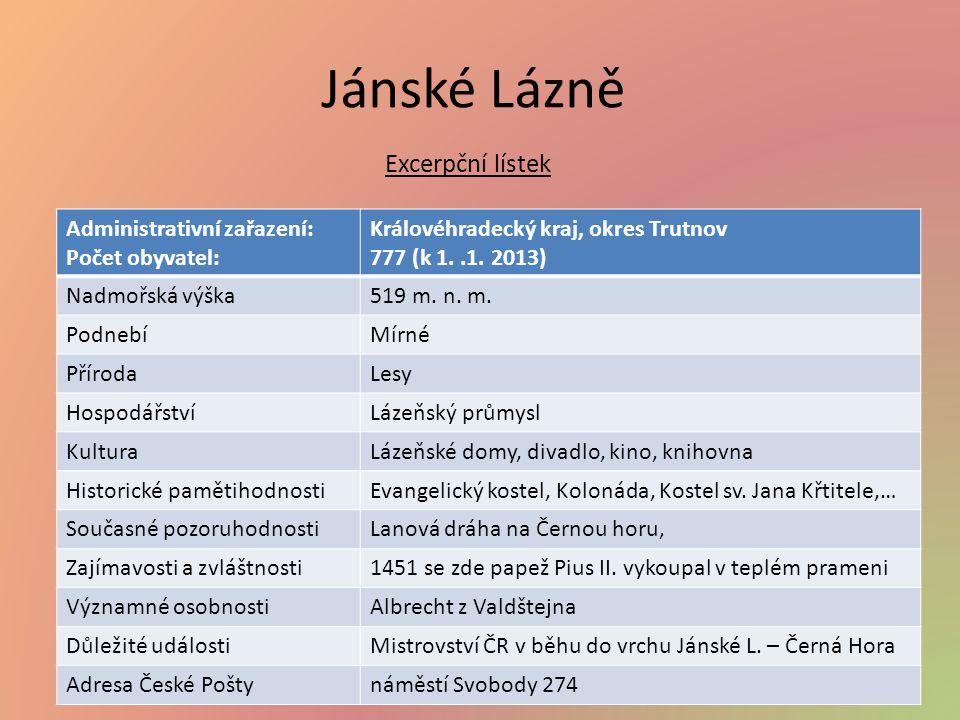 Jánské Lázně Administrativní zařazení: Počet obyvatel: Královéhradecký kraj, okres Trutnov 777 (k 1..1.