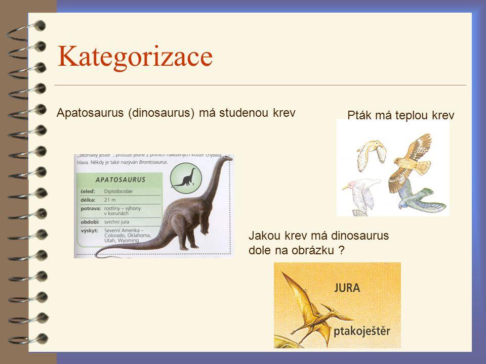 Kategorizace Pták má teplou krev Apatosaurus (dinosaurus) má studenou krev Jakou krev má dinosaurus dole na obrázku ?