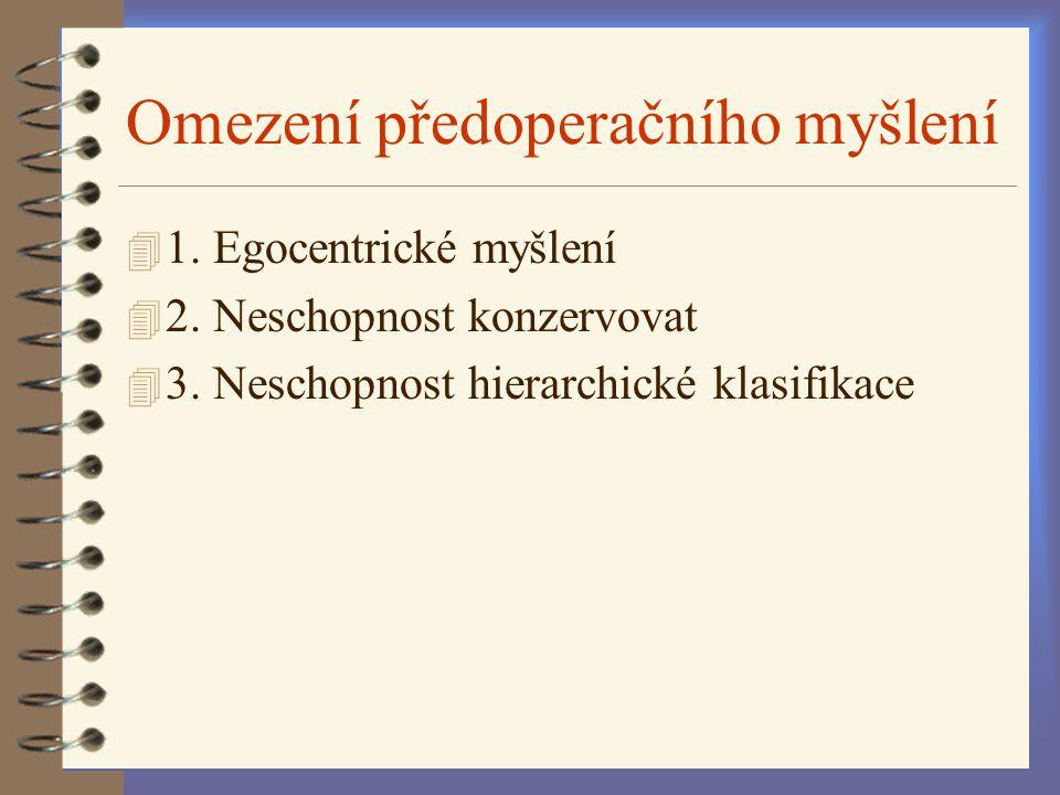 4 1. Egocentrické myšlení 4 2. Neschopnost konzervovat 4 3. Neschopnost hierarchické klasifikace