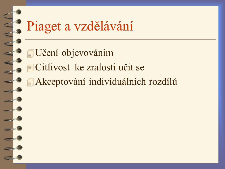 Piaget a vzdělávání 4 Učení objevováním 4 Citlivost ke zralosti učit se 4 Akceptování individuálních rozdílů