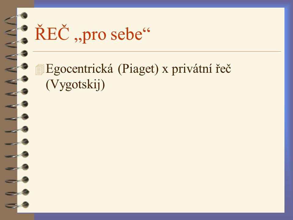 """ŘEČ """"pro sebe"""" 4 Egocentrická (Piaget) x privátní řeč (Vygotskij)"""