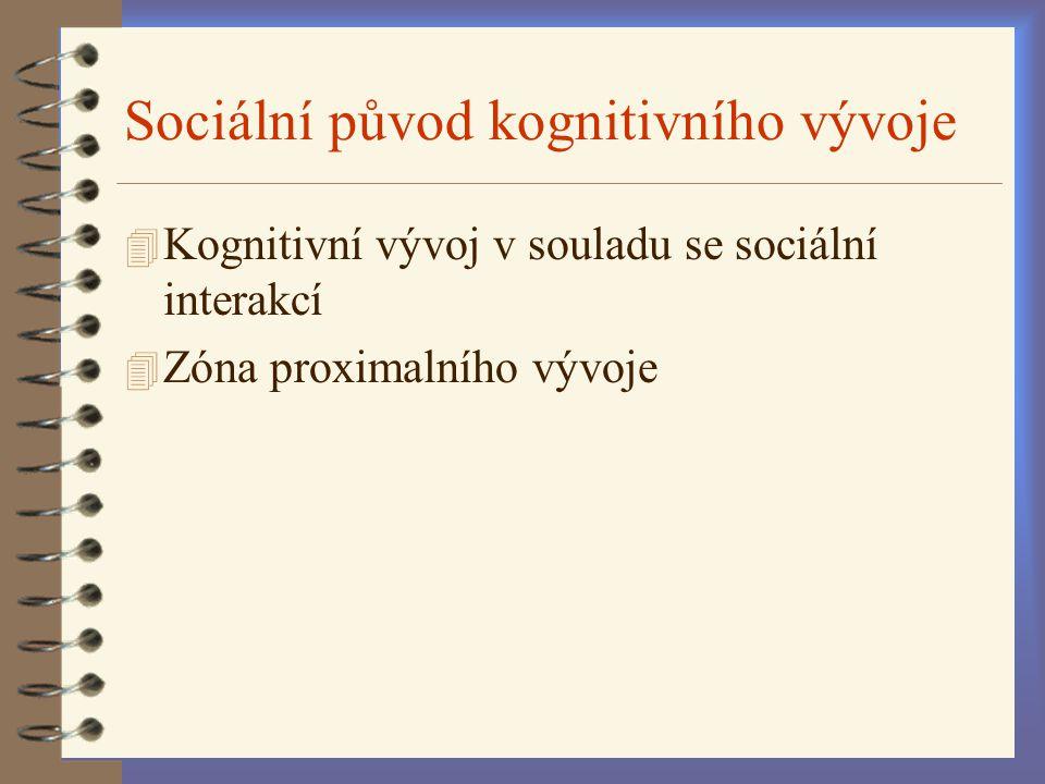 Sociální původ kognitivního vývoje 4 Kognitivní vývoj v souladu se sociální interakcí 4 Zóna proximalního vývoje
