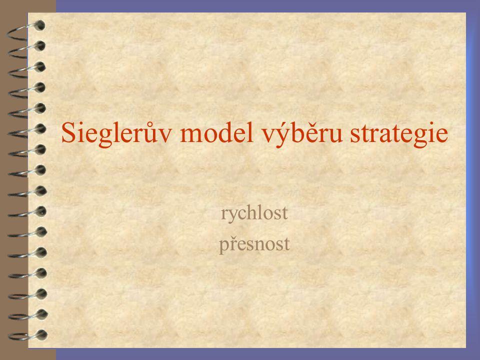 Sieglerův model výběru strategie rychlost přesnost