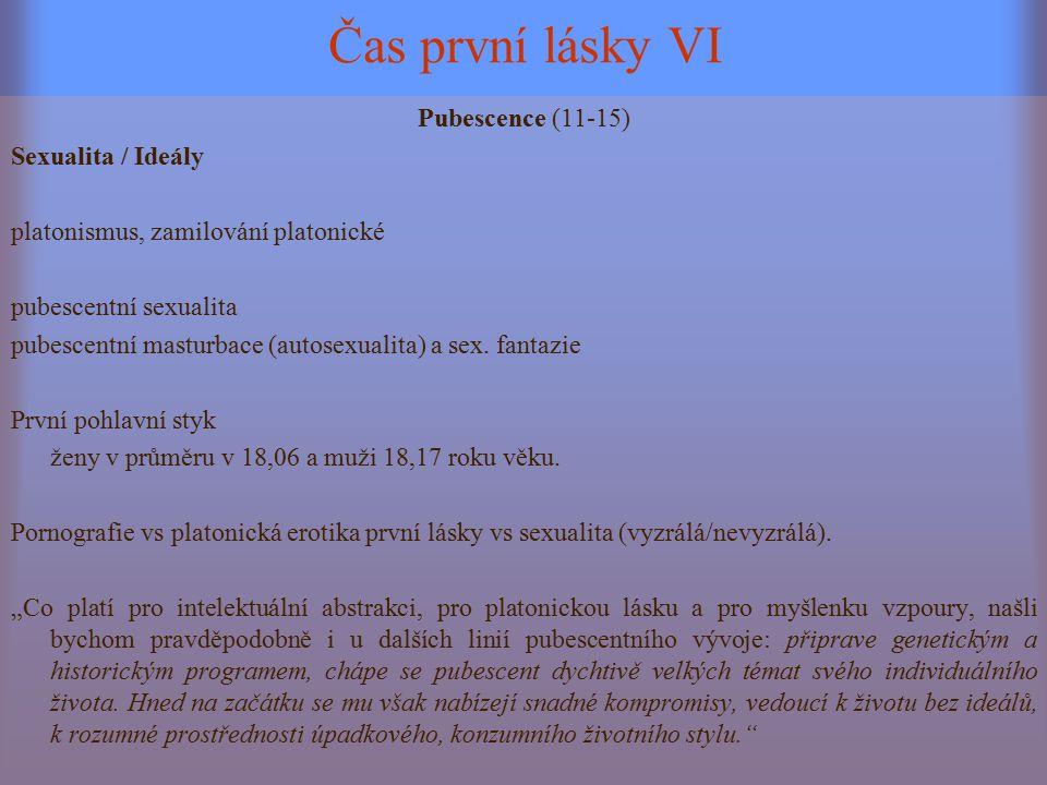 Čas první lásky VI Pubescence (11-15) Sexualita / Ideály platonismus, zamilování platonické pubescentní sexualita pubescentní masturbace (autosexualit
