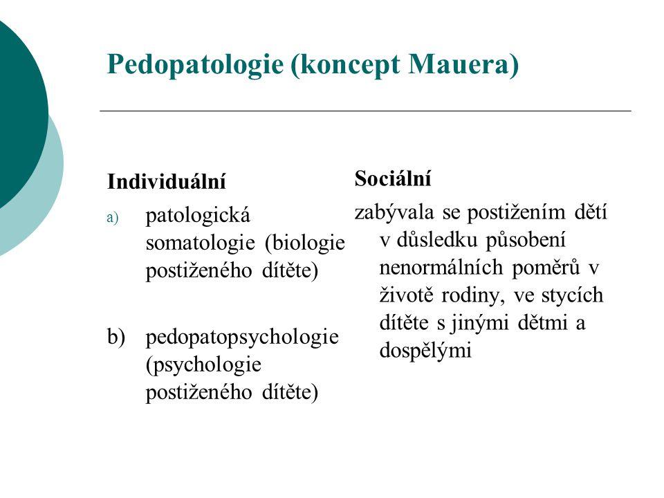 Pedopatologie (koncept Mauera) Individuální a) patologická somatologie (biologie postiženého dítěte) b) pedopatopsychologie (psychologie postiženého d