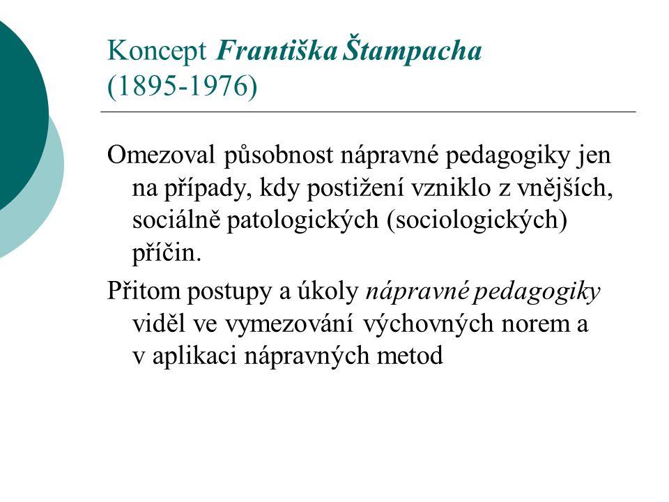 Koncept Františka Štampacha (1895-1976) Omezoval působnost nápravné pedagogiky jen na případy, kdy postižení vzniklo z vnějších, sociálně patologickýc