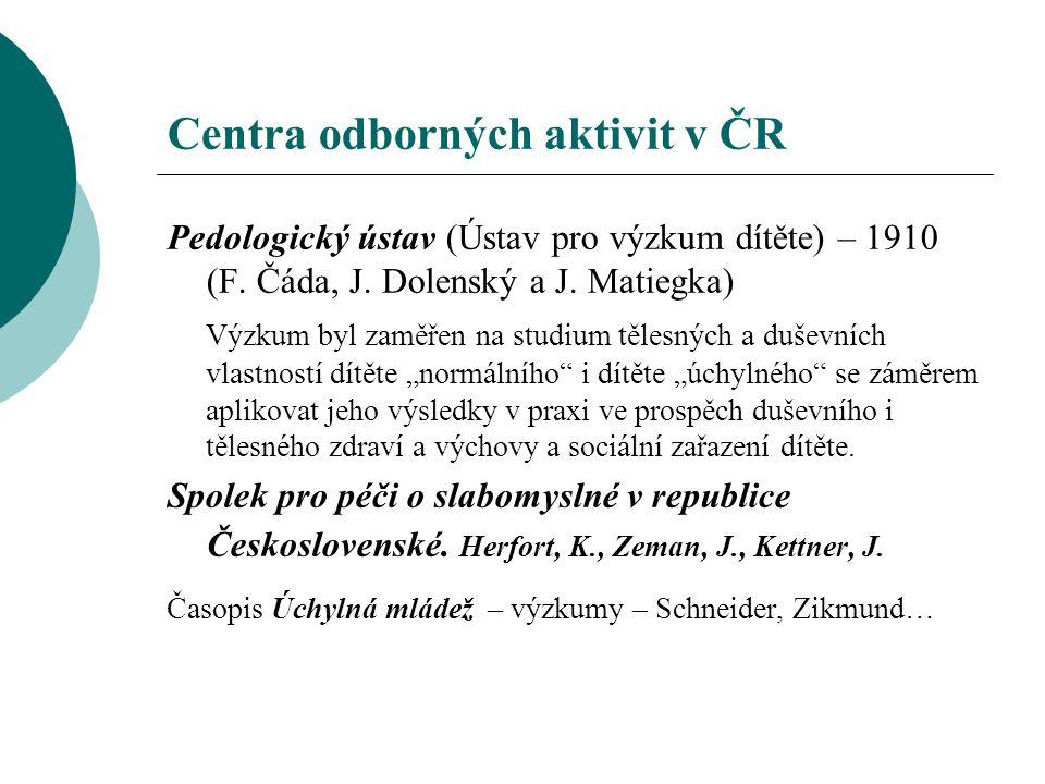 Centra odborných aktivit v ČR Pedologický ústav (Ústav pro výzkum dítěte) – 1910 (F. Čáda, J. Dolenský a J. Matiegka) Výzkum byl zaměřen na studium tě