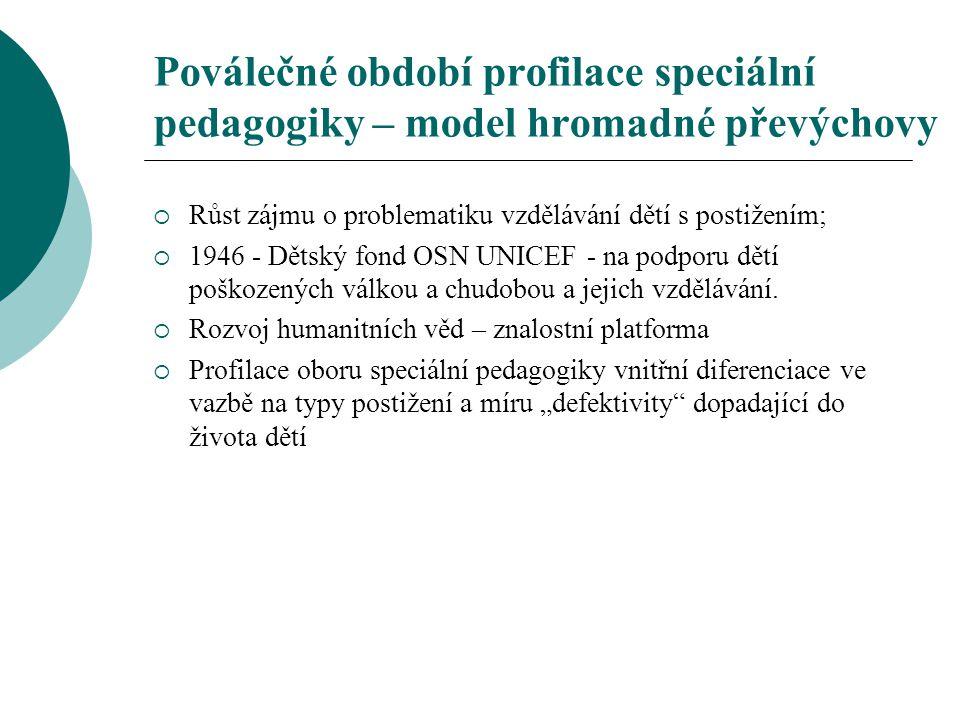 Poválečné období profilace speciální pedagogiky – model hromadné převýchovy  Růst zájmu o problematiku vzdělávání dětí s postižením;  1946 - Dětský
