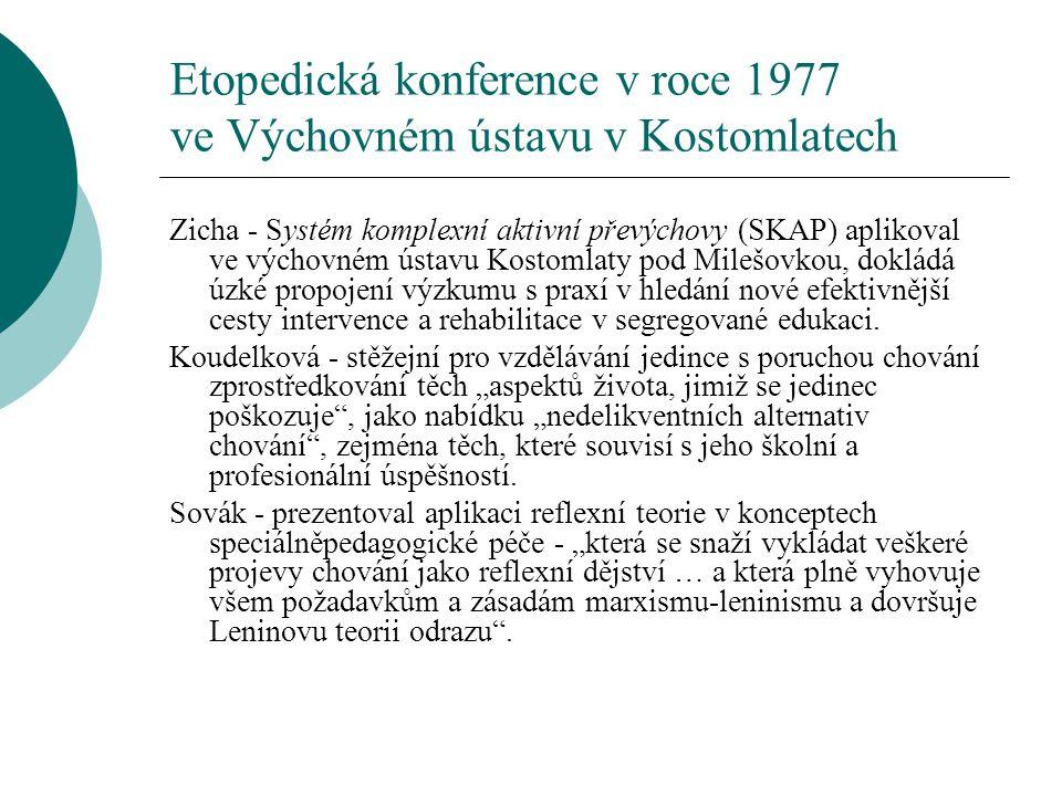 Etopedická konference v roce 1977 ve Výchovném ústavu v Kostomlatech Zicha - Systém komplexní aktivní převýchovy (SKAP) aplikoval ve výchovném ústavu