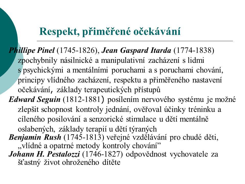Respekt, přiměřené očekávání Phillipe Pinel (1745-1826), Jean Gaspard Itarda (1774-1838) zpochybnily násilnické a manipulativní zacházení s lidmi s ps