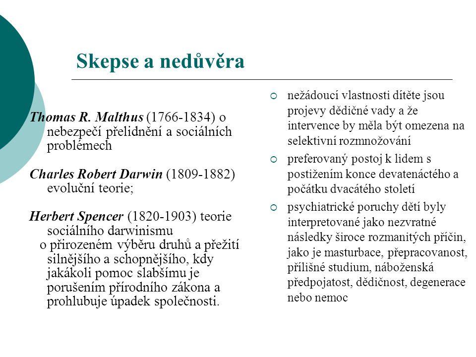 Skepse a nedůvěra Thomas R. Malthus (1766-1834) o nebezpečí přelidnění a sociálních problémech Charles Robert Darwin (1809-1882) evoluční teorie; Herb