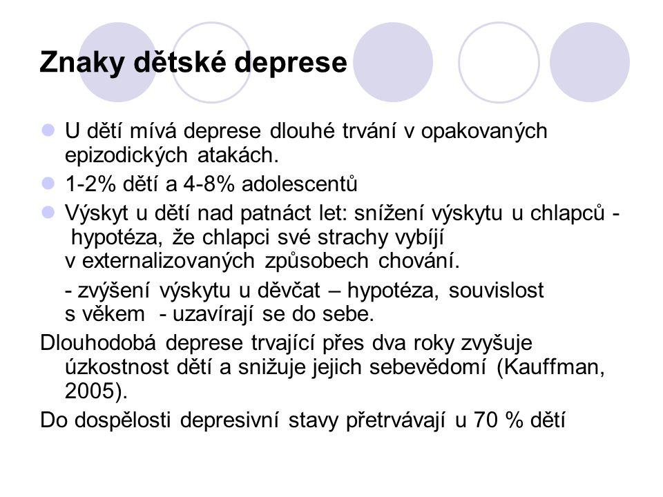 Znaky dětské deprese U dětí mívá deprese dlouhé trvání v opakovaných epizodických atakách. 1-2% dětí a 4-8% adolescentů Výskyt u dětí nad patnáct let: