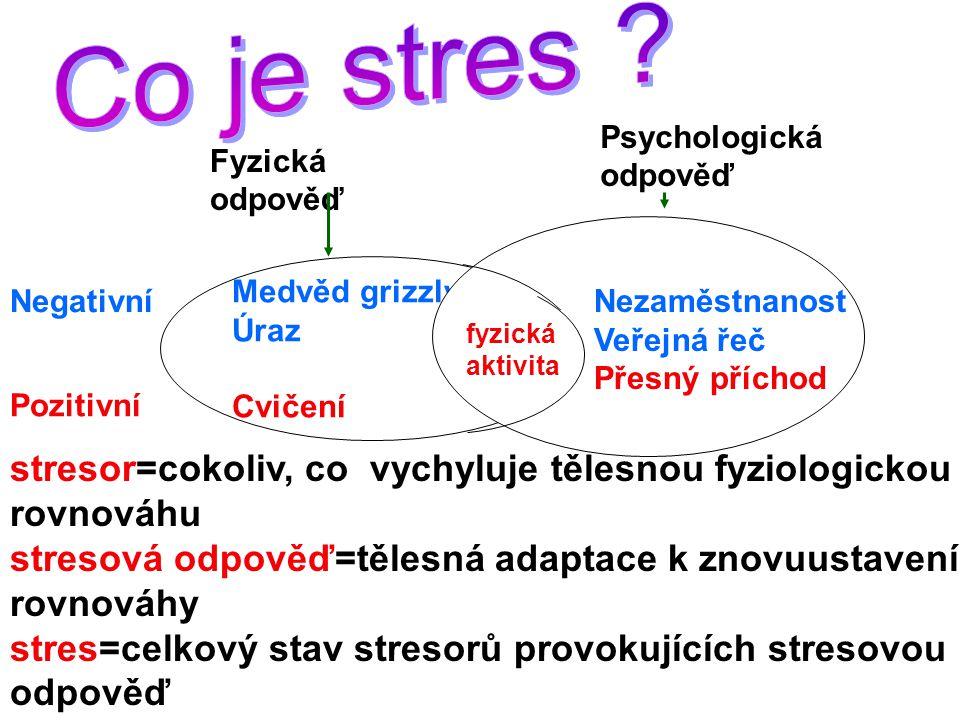 Fyzická odpověď Medvěd grizzly Úraz Cvičení Nezaměstnanost Veřejná řeč Přesný příchod Psychologická odpověď Negativní Pozitivní stresor=cokoliv, co vychyluje tělesnou fyziologickou rovnováhu stresová odpověď=tělesná adaptace k znovuustavení rovnováhy stres=celkový stav stresorů provokujících stresovou odpověď fyzická aktivita