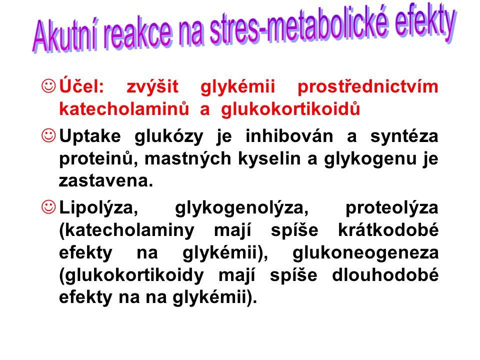 Účel: zvýšit glykémii prostřednictvím katecholaminů a glukokortikoidů Uptake glukózy je inhibován a syntéza proteinů, mastných kyselin a glykogenu je zastavena.