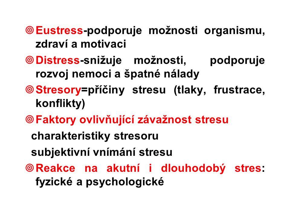¥Eustress-podporuje možnosti organismu, zdraví a motivaci ¥Distress-snižuje možnosti, podporuje rozvoj nemoci a špatné nálady ¥Stresory=příčiny stresu (tlaky, frustrace, konflikty) ¥Faktory ovlivňující závažnost stresu charakteristiky stresoru subjektivní vnímání stresu ¥Reakce na akutní i dlouhodobý stres: fyzické a psychologické