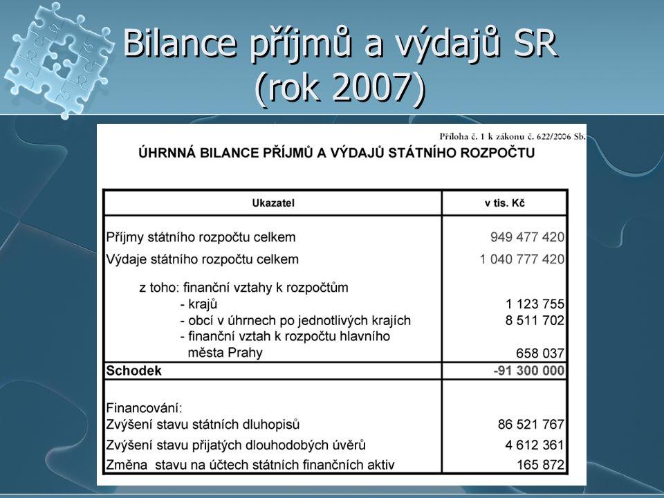 Bilance příjmů a výdajů SR (rok 2007)