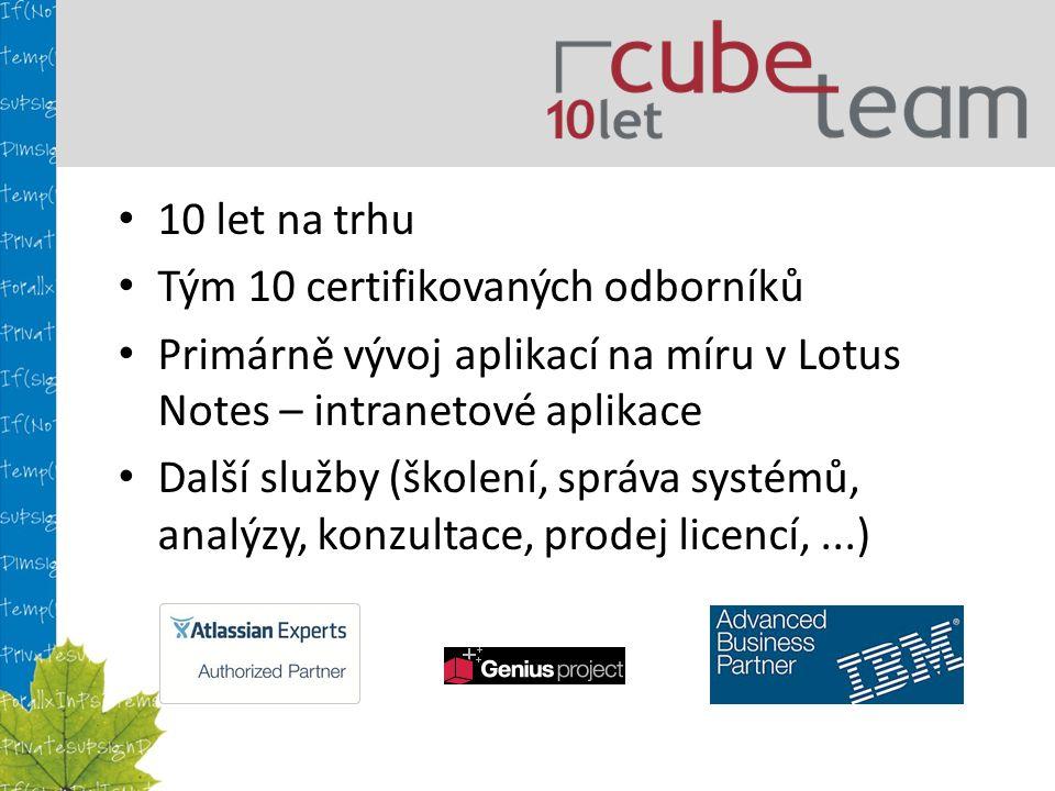 10 let na trhu Tým 10 certifikovaných odborníků Primárně vývoj aplikací na míru v Lotus Notes – intranetové aplikace Další služby (školení, správa systémů, analýzy, konzultace, prodej licencí,...)