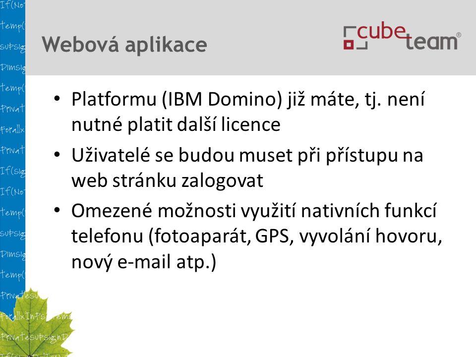 Webová aplikace Platformu (IBM Domino) již máte, tj.