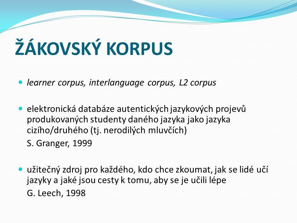 ŽÁKOVSKÝ KORPUS learner corpus, interlanguage corpus, L2 corpus elektronická databáze autentických jazykových projevů produkovaných studenty daného jazyka jako jazyka cizího/druhého (tj.